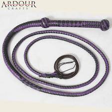 Bullwhip Genuine Purple & Black Leather 8 Feet Long 12 Plait Weaving Bull Whip