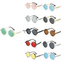 Vintage Polarized Steampunk Sunglasses Fashion Round Sunglasses Retro Mirro P0X7