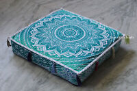 "18"" Green Ombre Indian Mandala Floor Decorate Square Pillow Cushion Cover Throw"
