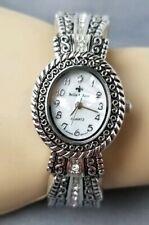 Silver Metal Detailed Rhinestone Oval Face Womens Bangle Cuff Bella Rose Watch
