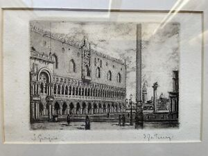 Framed Ernesto FESTUCCI Etching St Mark's Square, Venice signed in Pencil c1890