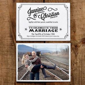 Personalised Vintage Photo Postcard Wedding Invitation - Rustic Retro Picture