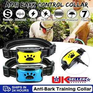 Rechargeable Anti Bark Collar Stop Dog Barking Sound&Vibration Adjustable S/M/L