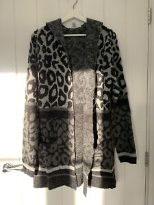 Denim & Co Hooded Leopard Print Cardigan XL