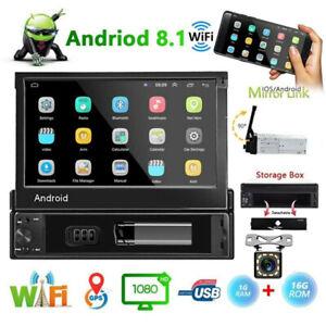 7'' 1Din Autoradio Android 8.1 WIFI Player GPS Navi FM Bluetooth USB MP5 +Camera