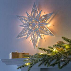 Hanging Star Light Christmas Decoration 6 Warm White LED Lights 29 cm