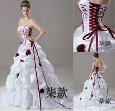 2018 New White+Red Wedding Dress Bridal Gown Ball Size 6 8 10 12 14 16+ Custom