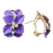 2016 Navachi Purple Enamel Flower Leaves 18K GP Crystal Omega Earrings BH2122