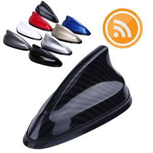 Carbon Fiber Look Car Shark Fin Antenna FM/AM Signal Aerials Mast  Rubber Base