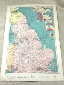 1920 Vintage Map Of Eastern Port UK Great Britain England  Maritime Nautical