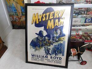 Vintage Hopalong Cassidy Movie Poster Mystery Man