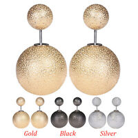 Women Celebrity Runway Double Sided Pearl Big Ball Beads Plug Ear Stud Earrings