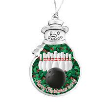 Bowling Ball Pin Snowman Merry Christmas 2019 Silver Metal Ornament Gift