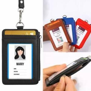 UK Leather Wallet Work Office ID Credit Card Badge Holder +Neck Strap Lanyard .D