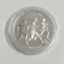 F46) FUßBALL Cook Islands 5$ 1991 Silber in PP zur WM USA 1994