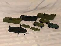 Lot Vintage MARX US ARMY LANDING CRAFT JEEPS Raft Toy Soldiers Battleground