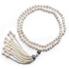 """Pearl Necklace with Tassel White Cultured Freshwater Pearls Matinee Length 28"""""""