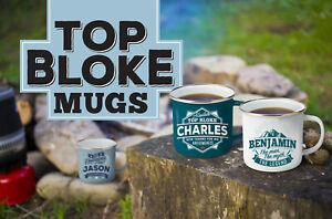 H&H Top Bloke Mugs - Male Gift Mugs - Metal Enameled Mugs - Retro Style Mugs