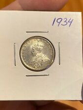 British India 1/4 Rupee 1940 Silver Coin, King George 5. Very Lustrous!