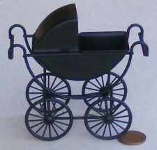 1:12 Scale Black Metal Victorian Pram Dolls House Miniature Nursery Accessory