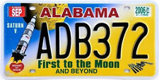 USA METAL NUMMERNSCHILD - ALABAMA FIRST TO THE MOON - US LICENSE N°69H