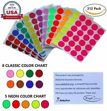 "Color Coded Dot Stickers Rounded Labels 1"" Inch 25mm 13 Assorted Colors 312 Pack"