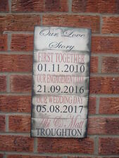 shabby vinage chic our love story first date wedding & engagement 16x8 wall sign
