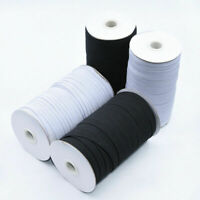 8mm 100 Yards Elastic Band Waist Woven  Dressmaking Stretch Sewing White/Black