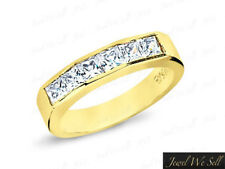 1.56ct Diamond Wedding Band Ring Antique 18k Yellow Gold Princess Channel I SI2