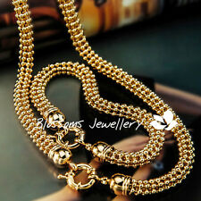 9K GOLD GF Womens 3D VINTAGE Ball CHAIN 50MM NECKLACE Bracelet SET EX743 SOLID