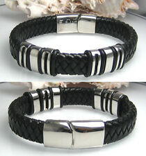 Männer Leder Armband schwarz 22cm 6x Beads Edelstahl Herren echtes Lederarmband