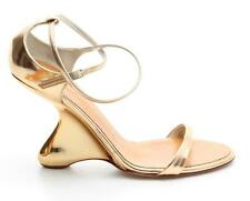 Giuseppe Zanotti Metallic Gold Leather Strappy Wedges Size 37