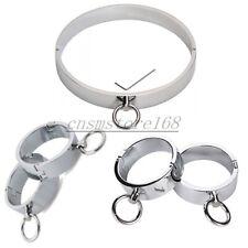 Male Slave Neck Collar Handcuffs Ankle Wrist Cuff set Restraint Roleplay Bondage