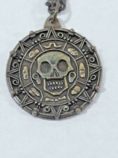 Pirates Of The Caribbean Necklace Skull Aztec Medallion Jack Sparrow Coin