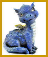 Fairy Garden Fun Blue  Baby Dragon Miniature Dollhouse Figurine