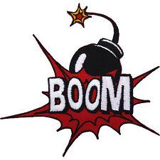 BOOM Bomb Patch Iron / Sew On Embroidered Superman Batman Spiderman Comic Badge