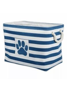 Pet Toy Organizer Storage Large Rectangle Bin Bone Decor Dog Cat Treats