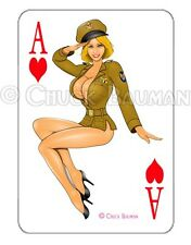 Bomber Girl BLONDE BOMBERSHELL Air Corps  playing card decal pin-up babe sticker