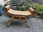Antique Burnt Bamboo Rattan Thebes Style Bench Colonial Revival Chinoiserie