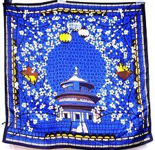 ITALY LONGCHAMP SETA Silk 19x19 Women Scarf BeiJing Temple Lantern Bag Lady Gift
