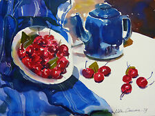 STUNNING DORANNE ALDEN ORIGINAL WATERCOLOUR  CHERRIES & BLUE TEAPOT  PAINTING
