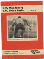 PRG   DDR- OL  77/78   UNION BERLIN - 1.FC MAGDEBURG  !
