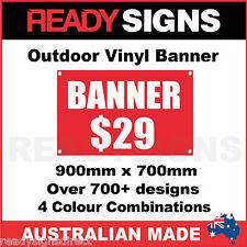 CUSTOM VINYL BANNERS - 900mm x 700mm - Australian Made  - 700+ Designs