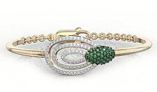 1.52ctw NATURAL DIAMOND EMERALD 14K YELLOW  GOLD WEDDING ANNIVERSARY BRACELET