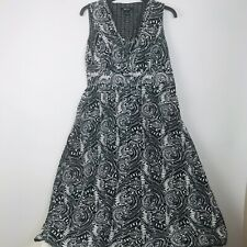Style & Co. Womens Black Floral Print Summer Dress 100% Cotton Side Zip Size 4
