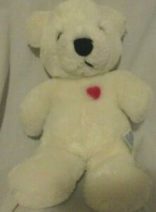 "RARE 1982 Dakin TEDDY BEAR WHITE w/ RED HEART 10.5"""