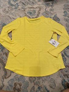 Zyia Active Yellow Subtle Stripe Long Sleeve Shirt Size XL