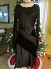 DKNY Black Long Sleeves Wool Silk Velour Dress Size S