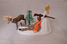 Wedding Reception Party Brown Camo Rifle Gun Deer Hunter Hunting Cake Topper