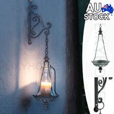 Hanging Metal Wall Light Glass Lantern Candle Holder Vintage Wedding Home Decor